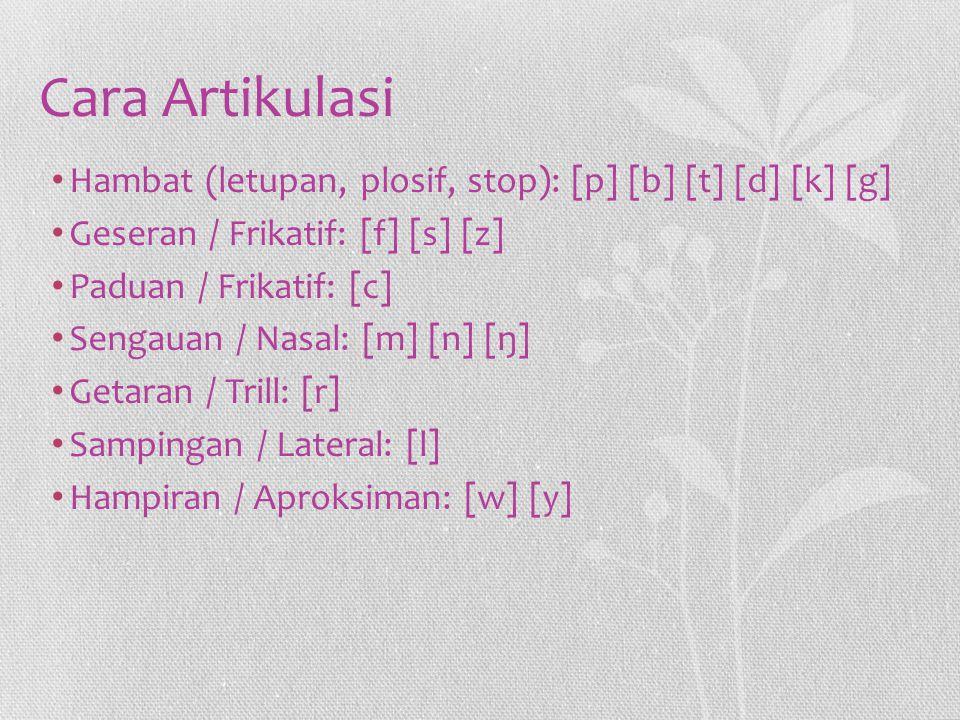 Cara Artikulasi Hambat (letupan, plosif, stop): [p] [b] [t] [d] [k] [g] Geseran / Frikatif: [f] [s] [z]